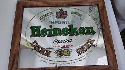 Vintage Heineken Special Dark Beer Bar Mirror From Mechanical Mirror Works Inc