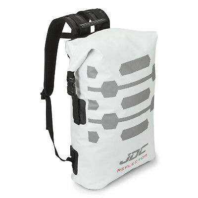 JDC Motorcycle Motorbike Rucksack 100% Waterproof Dry Bag 30L Hi-Vis - White