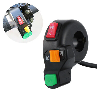 """Scooter Handlebar 12V On/Off Button 3in1 7/8"""" Switch Horn Turn Signals Light"""