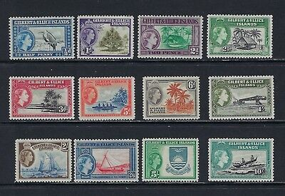 1956 Gilbert & Ellice Islands Scott 61-72 QEII mint lightly hinged