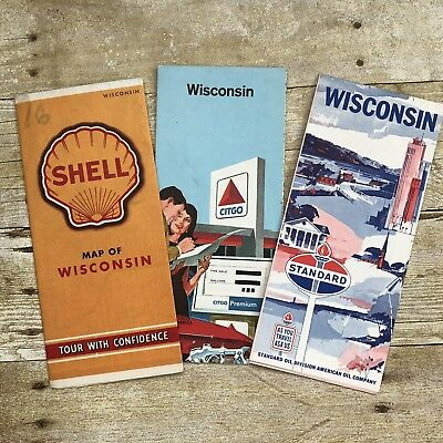 3 Vintage Maps Wisconsin Citgo Shell Standard Oil Gasoline Advertising Travel
