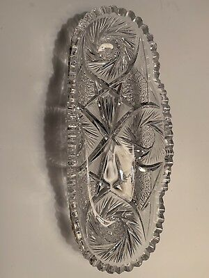 Spectacular ABP CUT GLASS Crystal American Brilliant Oval Serving/Celery Dish