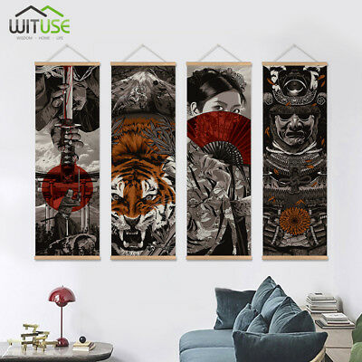 Japanese Samurai Wall Art Picture Hanging Scroll Painting With Wooden Hanger 08