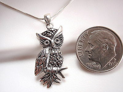 Wise Owl Pendant 925 Sterling Silver Corona Sun Jewelry Night Owl life