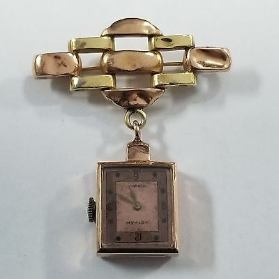 Vintage 14k Yellow Gold Gotham Wind Up Watch Pin Antique Jewelry MA-WTCHP9