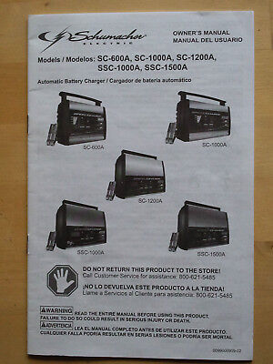 English Spanish OWNER'S MANUAL 4 SCHUMACHER SC-600A/100A/1200A SSC-100A SSC-1500