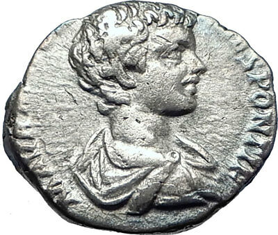 CARACALLA as Caesar 197AD Authentic Silver Ancient Roman Coin TROPHY i73261