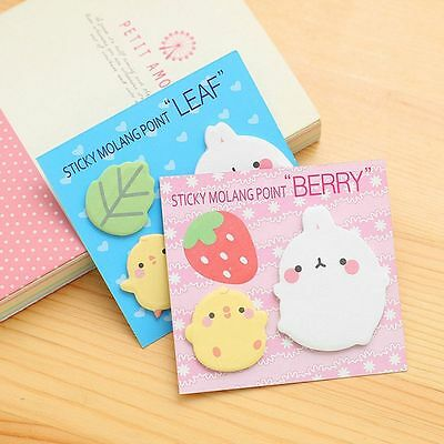 Cute Animal Molang Rabbit Flower Friut Sticky Memo Pad Note Book Bookmark