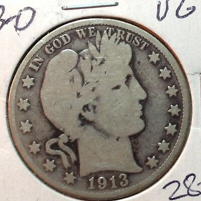 1913-D  VG   Barber Half Dollar   LY and part of IT
