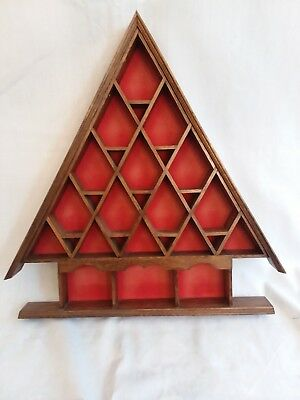 Vintage Wood Thimble Triangular Display Case Holds 22 Thimbles wall mount