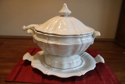 Red Cliff Heirloom Ironstone Soup Tureen with Ladle & Underplate