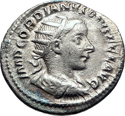 GORDIAN III 241AD Rome Silver Authentic Ancient Roman Coin JUPITER Zeus  i73271