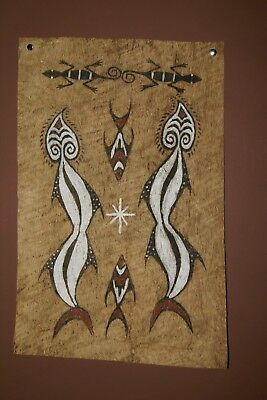 Rare Tapa Kapa Sentani Tribal Barkcloth Abstract Hand Painted Art New Guinea 41-