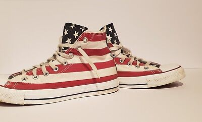 8c4c3ef645b7 Vintage made in USA Converse all star high top shoes. American flag design.