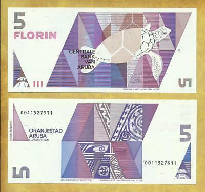 Aruba 5 Florin 1990 P-6 Unc Currency Banknote ***USA SELLER*** Money Bill Note
