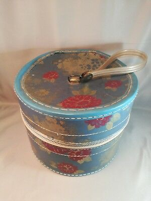 Vintage Hat Box - Floral design with zipper and handle