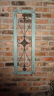 Framed metal wall decor, distressed metal, turquoise garden decor, wrought iron
