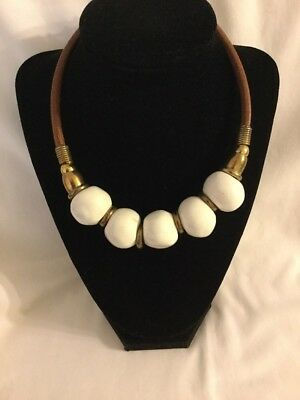 "Vintage Artisan Heavy Large White Glass? Bead Brass Tone Choker 16"" Necklace (M)"