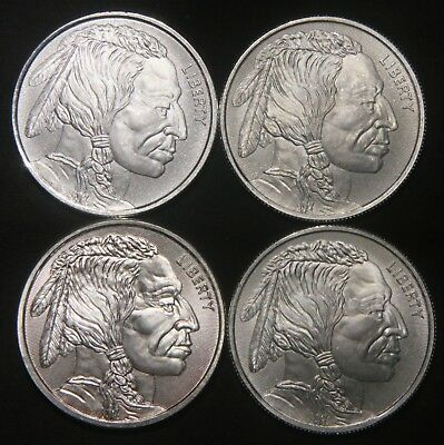 Four Elemetal Indian Buffalo Silver Rounds (4 Oz Total) .999 Pure  Lot 271033