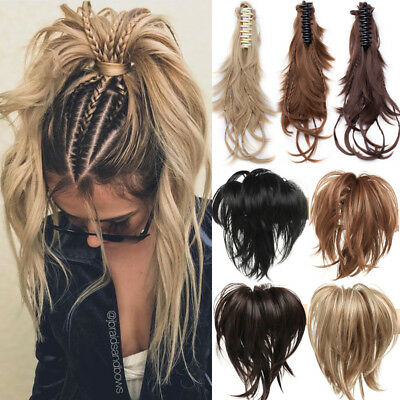Braids Ponytail Clip in Hair Piece Claw Pony tail Clip on Extensions As Real US