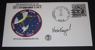 STS 99 Kevin Kregel , signed Crew Patch Flight Cover