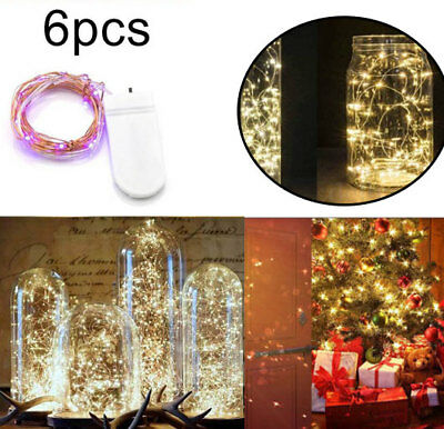 6Pcs 20 LED Battery Micro Rice Wire Copper Fairy String Lights Party white rgb