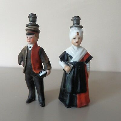 Rare Pair Of Antique Crown Top Figural Perfume Bottles Dutch Orphans Amsterdam