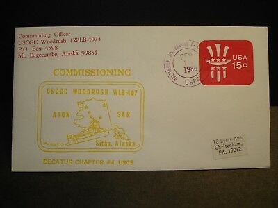 USCGC WOODRUSH WAGL-407 Naval Cover 1980 COMMISSIONING Cachet