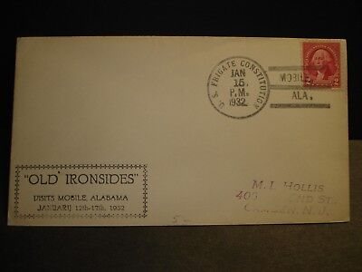 Frigate USS CONSTITUTION Naval Cover 1932 Cachet MOBILE, ALABAMA