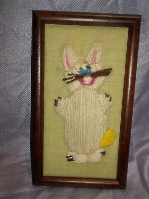 Vintage Crewel Embroidery Finished Wood Frame White Comic Rabbit By 10 YEAR OLD