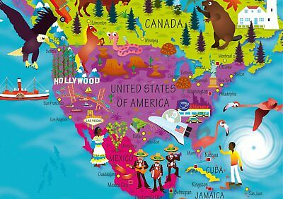 World Map Childrens Illustrated Picture Poster Kids Visual Atlas Colored