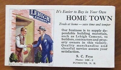 Lot of 18 Old Blotters S. C. Frye Plymouth NH - Lehigh Cement