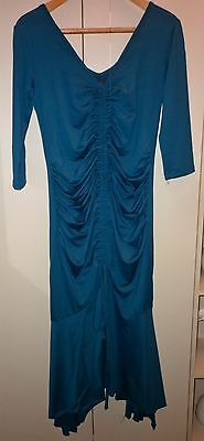 1920s STYLE TEAL MATERNITY DRESS SIZE LARGE EXCELLENT CONDITION