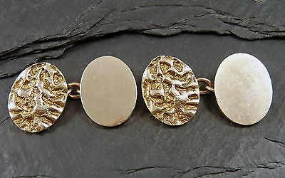 Vintage Pair Of Large Heavy 9ct Gold Cufflinks  Tree Bark Textured  1960's  15g