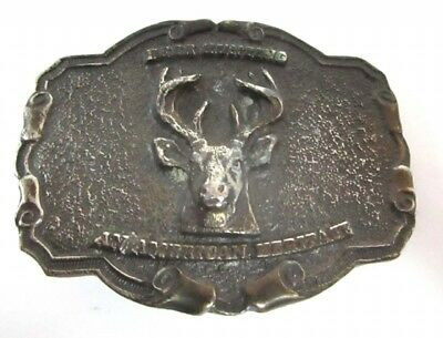 Vintage Collector 1977  The North American Hunting Club Buck Brass Belt Buckle