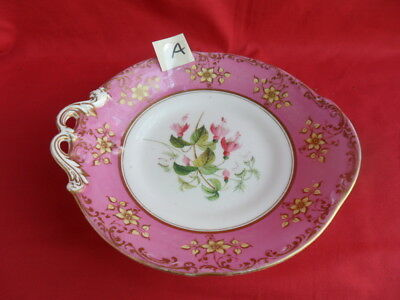 Antique (c19th Century) Floral Design & Pink Border Tazza/Cake Plate (A)REDUCED!