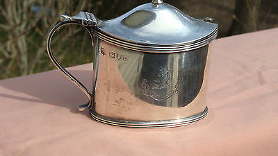 Antique London 1896 Sterling Silver Mustard Pot With Family Crest