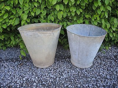 Two Genuine Vintage  Galvanised Flower Buckets Garden Planters 37 cm high (449)