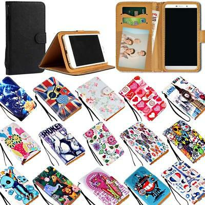 Leather Wallet Stand Flip Case Cover For Various General Mobile Phones + Strap