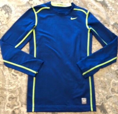 65a05daca NIKE Boy's Pro Combat Hyperwarm Long Sleeve Blue Compression Shirt Top Youth  L