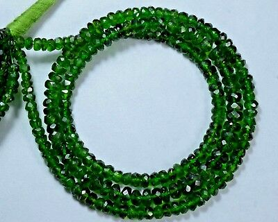 """RA-14 Chrome Diopside Natural Gemstone Rondelle Faceted Beads 3-6mm 59Ct 17"""" $"""