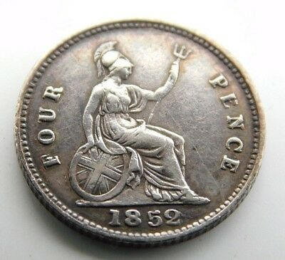Great Britain 1852 Groat Four Pence Silver Coin RARE