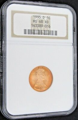 1995 D Lincoln Memorial Cent/Penny - NGC MS 68 RD (9-016)