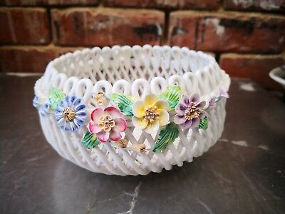 Acer Gubbio Vintage Reticulated Italian Basket Decorated With Flowers 17 X 9Cms