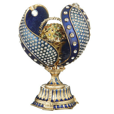 Russian Faberge Twisted Egg with Basket of Flowers 4.8'' (12 cm) blue
