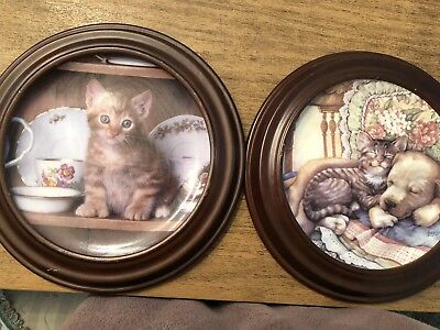 Crestley Plates (2) Teatime Tabby And Cuddle Up Framed