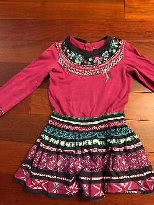 Catimini Dress Bird on Front Girls Size 110 or 5
