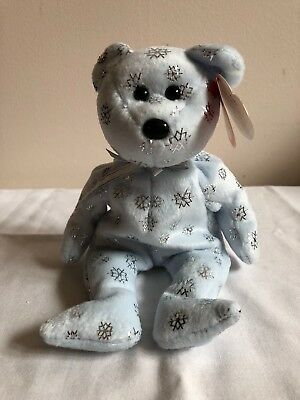 TY Beanie Baby Flaky Snowflake Bear 2002 Christmas MWMT Perfect condition