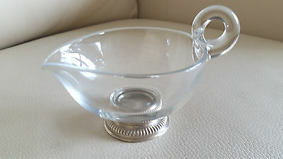 Frank M. WHITING Glass CREAMER/GRAVY W/Handle, STERLING Base, Mint, Beautiful!
