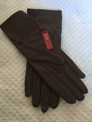 VINTAGE 1970s DENTS Brown STRETCH NYLON WRIST GLOVES  Size L BNWT in pack
